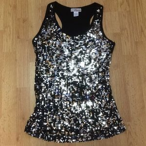 🎱Lipstick Black With Silver Sequins Tank Top